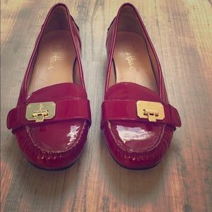 Cole Haan Nike Air red leather slip on shoes